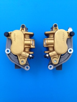 pair front brake nissin calipers for honda cb 600 f hornet without abs gold new