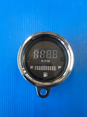 DIGITAL CHROMED REV COUNTER FOR CAFE' RACER WITH FUEL