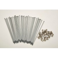 KIT 40 SPOKES AND NIPPLES DM 4 mm LENGHT 185 mm STRAIGHT