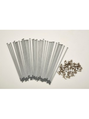 KIT 40 SPOKES AND NIPPLES DM 3,5 mm LENGHT 215 mm STRAIGHT