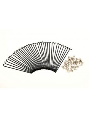 KIT 40 SPOKES AND NIPPLES DM 3,00 mm LENGHT 150 mm BEND 90° BLACK